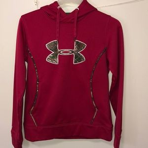Maroon and camo under armour hoodie